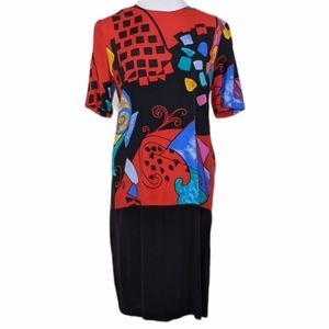 VTG 80's Just In Thyme LTD Abstract Print Dress 6